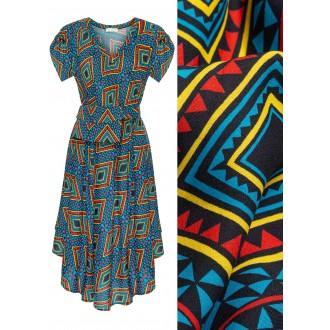 Sukienka z paskiem i torebką Thaiti Romby Op-Art Blue